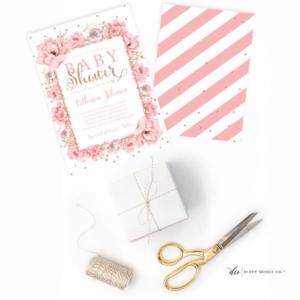 Duffy Design Co Floral and Stripe Invitations