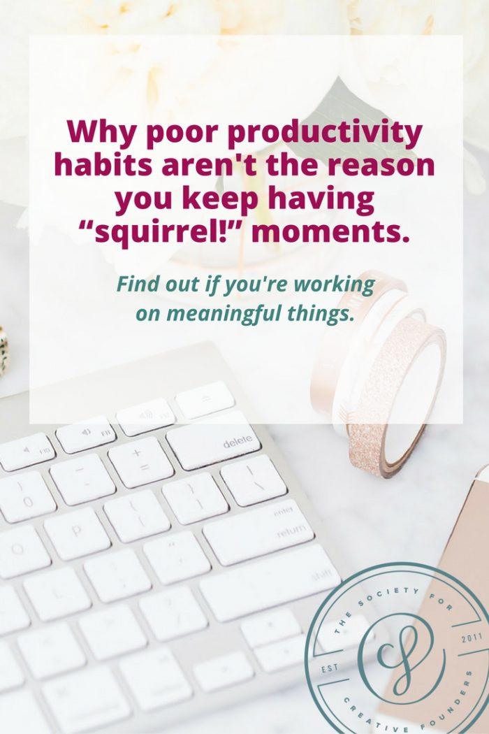 Poor productivity isn't why you're distracted with squirrel! moments. Learn more about goal setting for creative business owners.