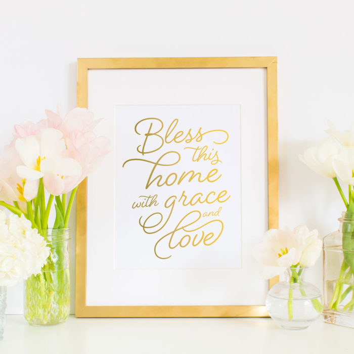 Bless this home with grace and love - Art print by Grace & Serendipity