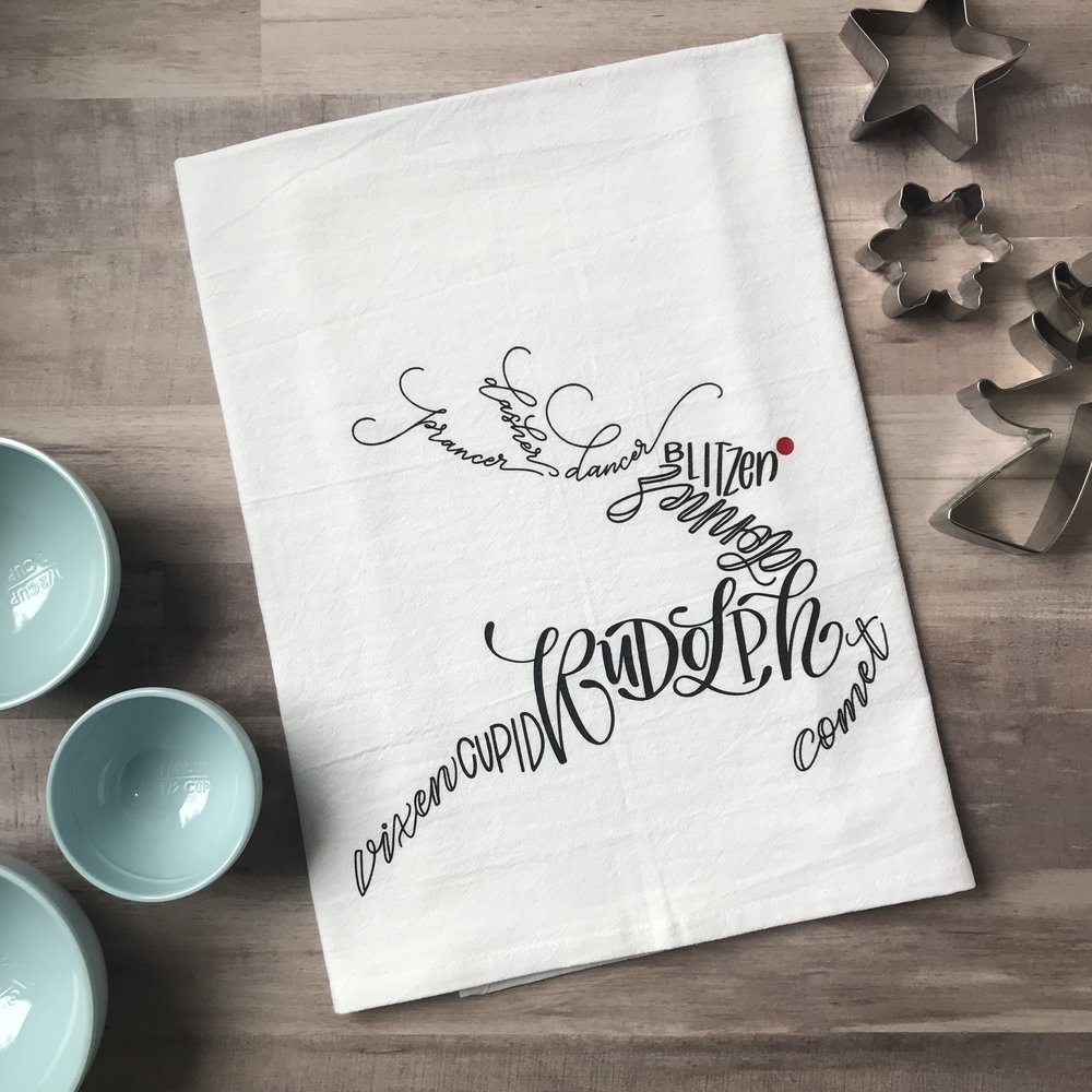 Reindeer Tea Towel - Lettered Grace