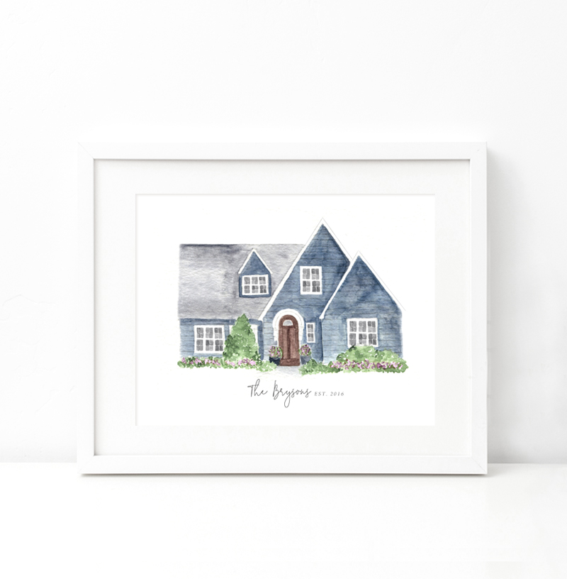 Custom Watercolor Home Painting - Beloved Paper