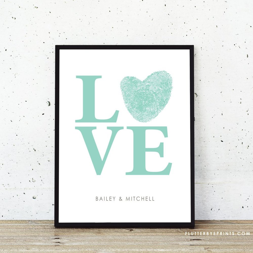 Personalized Love Fingerprint Wedding Guestbook Alternative - FlutterBye Prints