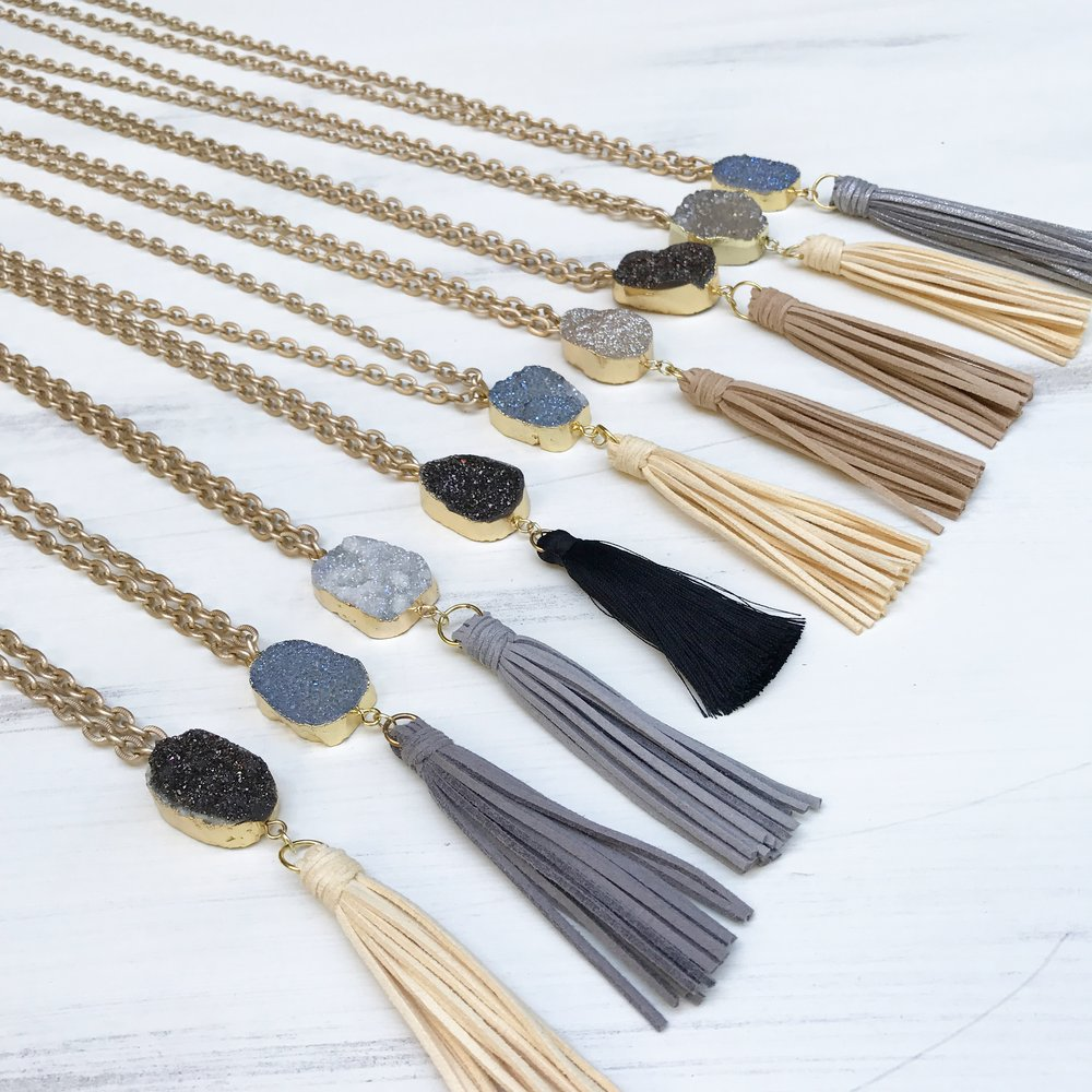 Chain Tassel Druzy Necklace - A.M. Jewels