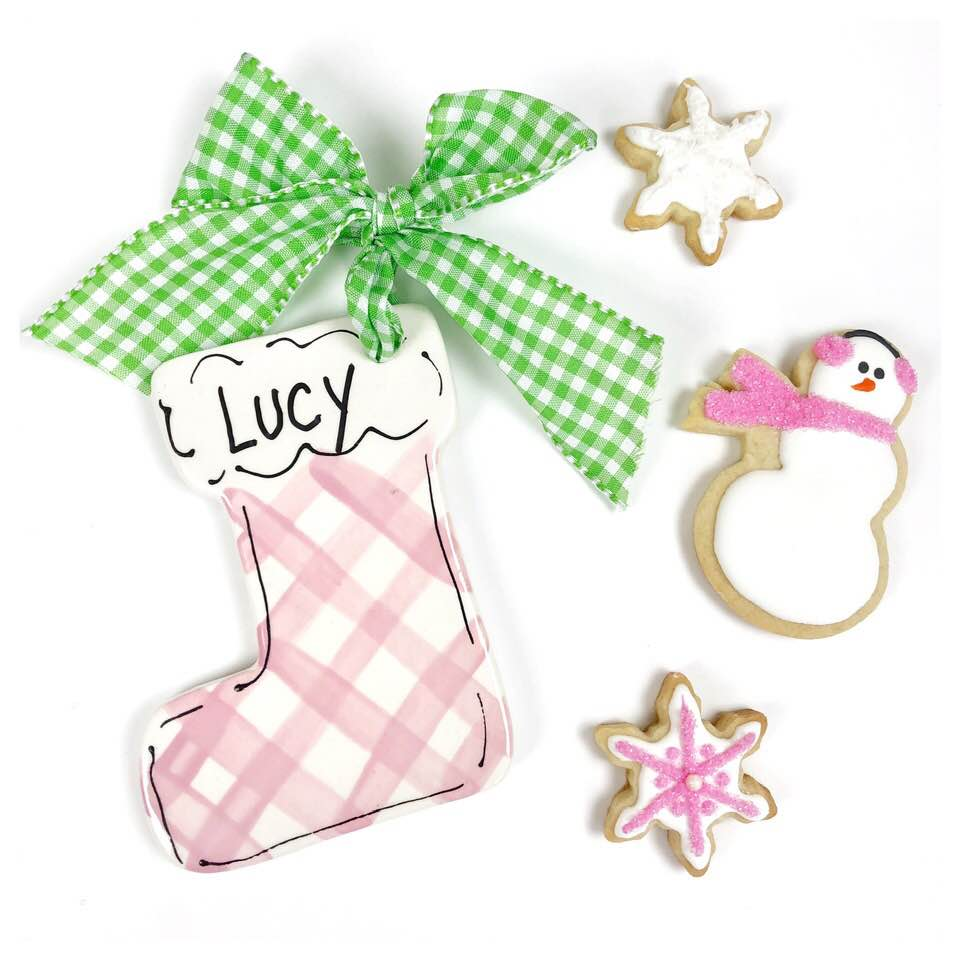 Pastel Gingham Stocking Ornaments - For Pete's Sake Pottery