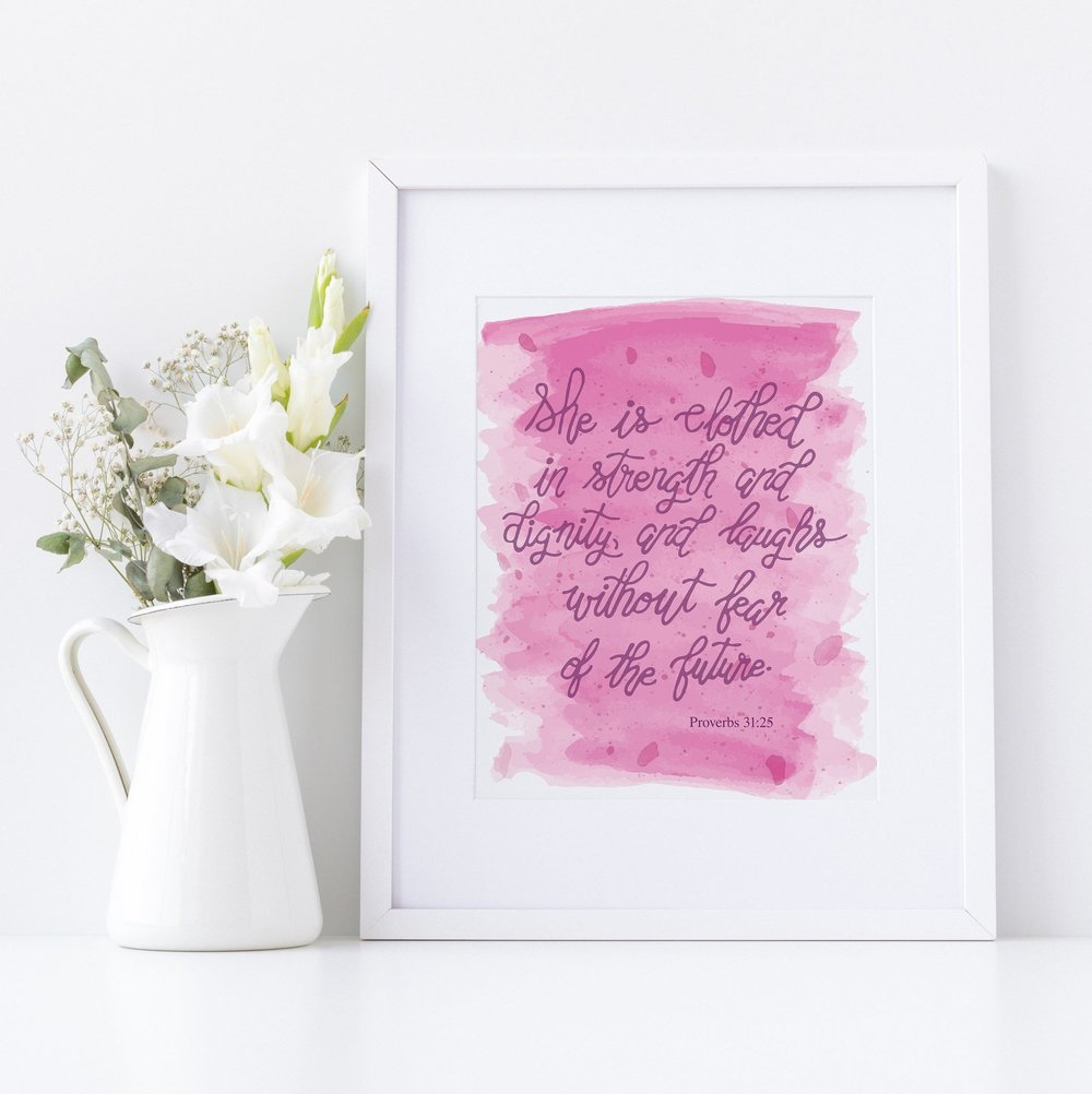 Proverbs Verse Print - Aqua Opal Studio