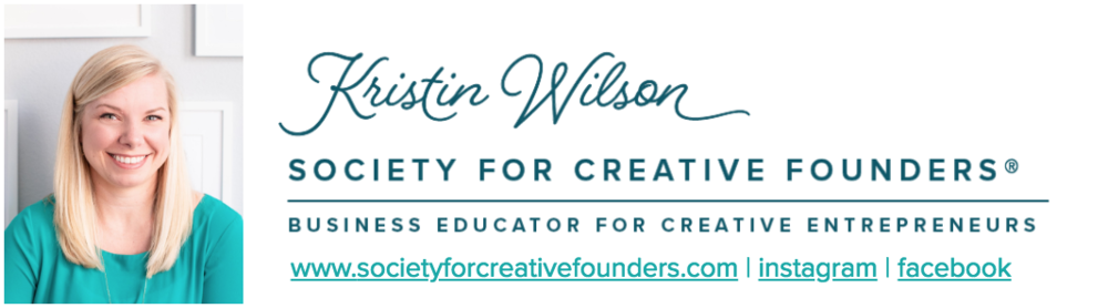 Kristin Wilson, the owner of the Society for Creative Founders, does a great job at infusing her branding down to every last detail, including her email signature and wearing her brand colors in her headshot photo.