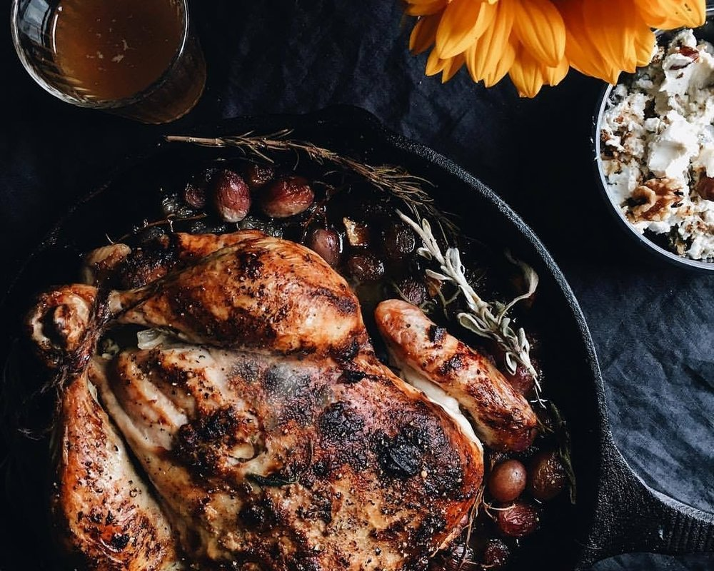 Fall Harvest Cider Chicken With Walnut Goat Cheese & Grapes -
