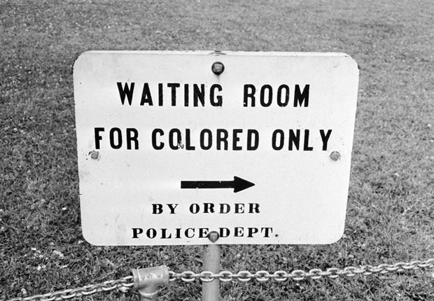 A sign in Jackson, Mississippi which reads 'Waiting Room For Colored Only by order Police Dept.', 25th May 1961. (Photo by William Lovelace/Express/Hulton Archive/Getty Images)