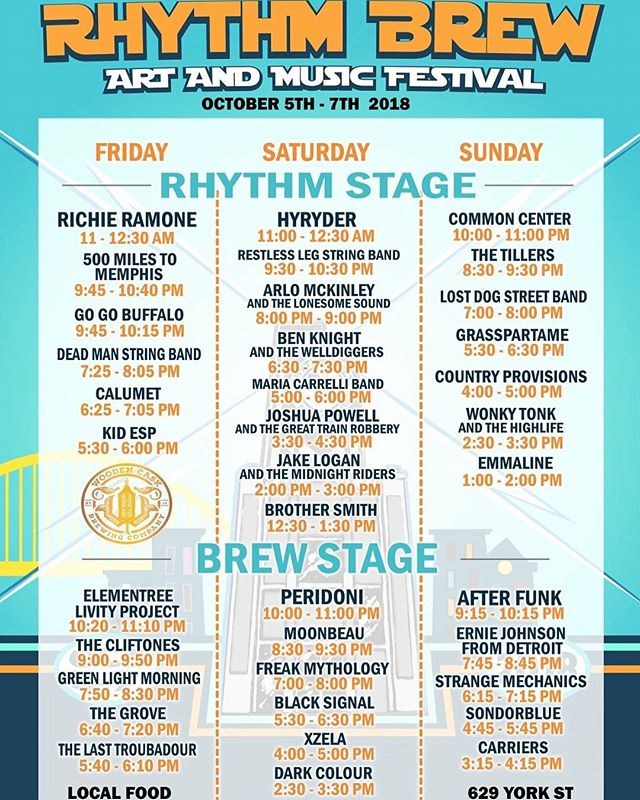 Full line up for Rhythm Brew Fest @woodencaskbrewery !  Check us out on Saturday, Oct 6th, at 6:30 PM. This is going to be a good one, folks.