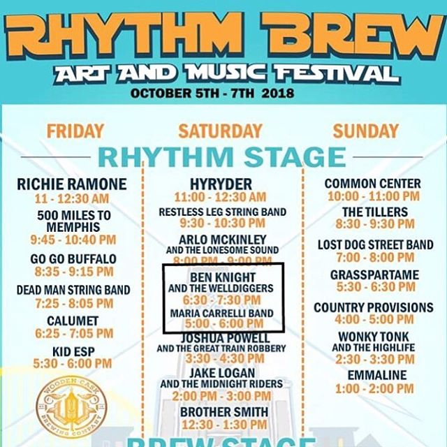 Saturday night!  @woodencaskbrewery ! 6:30 PM • Rhythm Stage!  See you there?  #cincymusic #bkwd #rhythmbrewfest #livemusic