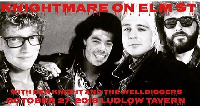 TONIGHT: One night only, the return of Ben Knight and the Boo Boo's to the stage @ludlowtavernky for Knightmare on Elm Street! Our special bud @kansasryan on drums, @badgirl_le_le on the mic. We've got some spooky covers in store for you!