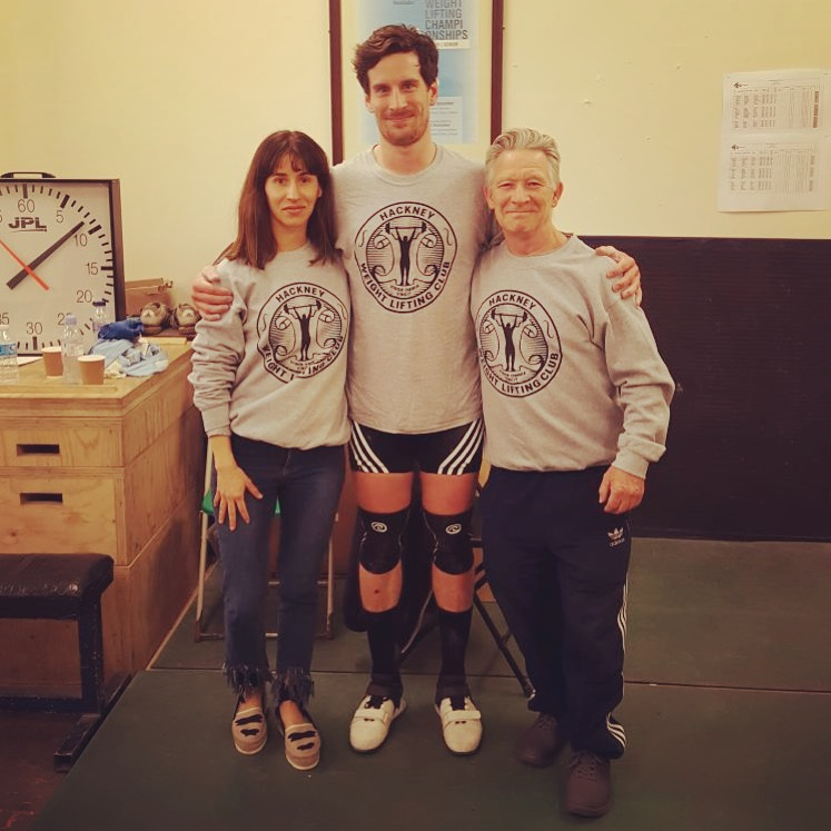 Coach Amelia / Hackney Lifter Joe Kelly / Coach Pat (left to right) from Hackney Olympic Weightlifting Club at Crystal Palace LSE Series 2