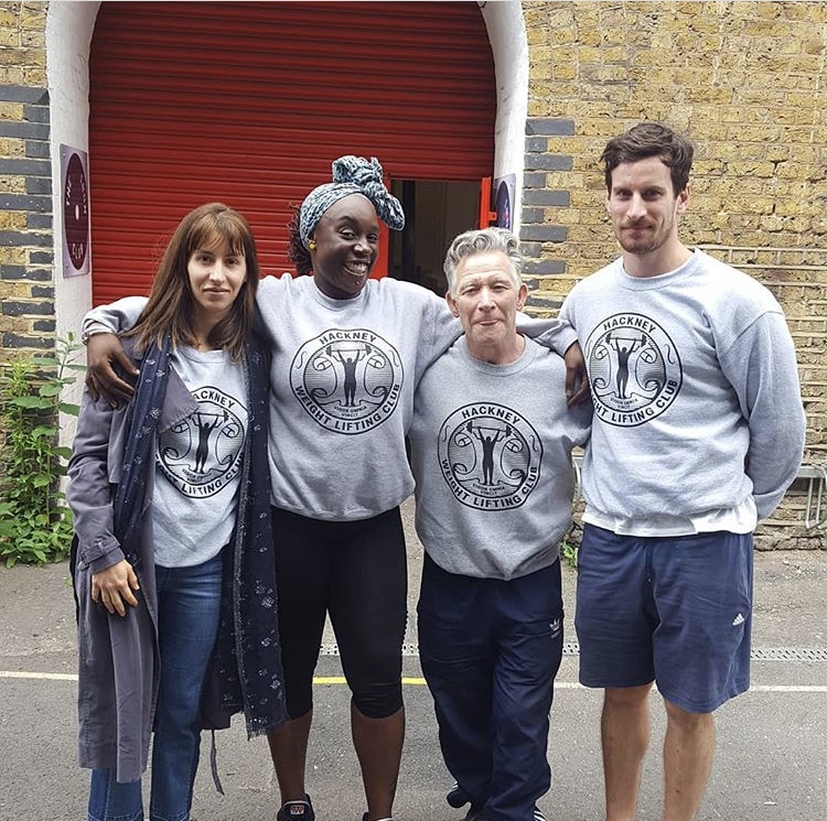 Coach Amelia Álamo / Sharlene / Coach Pat Atteridge / Joe Kelly (left to right) from Hackney Olympic Weightlifting Club London at LOWA Series 2