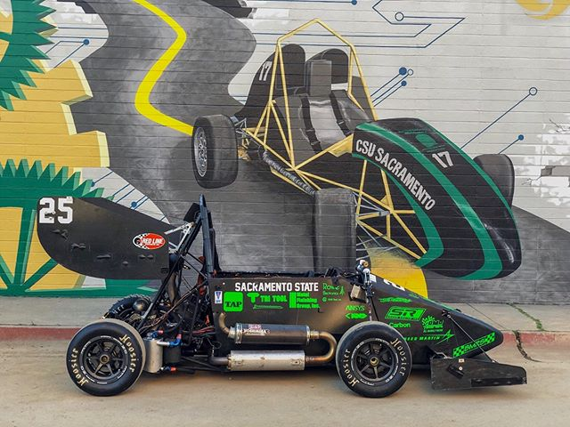 Pictured right next to each other is the HR2018 and a mural of HR2014—a legacy of a legacy. With the '19 underway, it's good to look back at how far we've come as a team from our first prototype in 1996 to our first competition-spec aerodynamic kit in 2018. #HornetRacing #MadeAtSacState