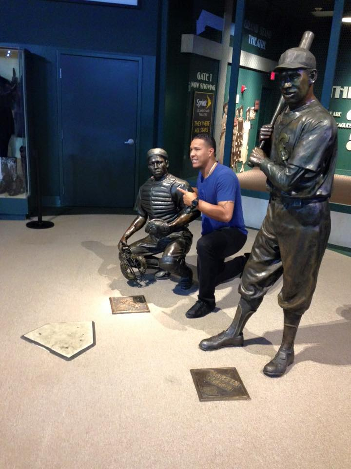 The Royals catcher Salvador Perez visiting the Negro League Baseball Museum