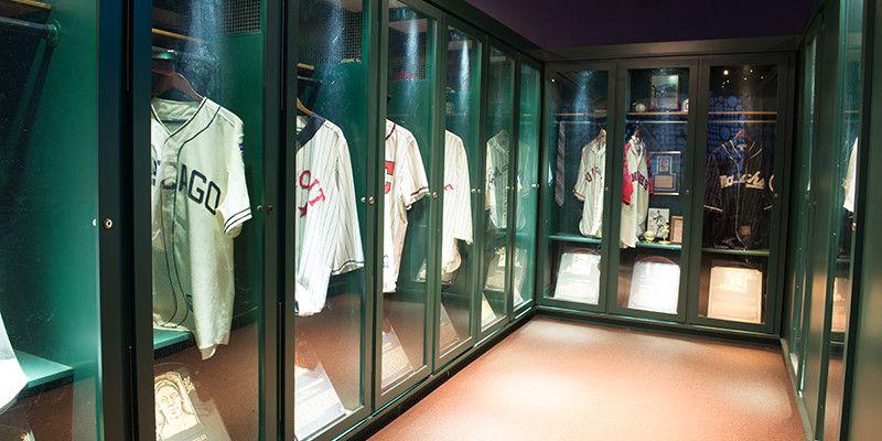 Negro League Baseball Museum locker room of jerseys