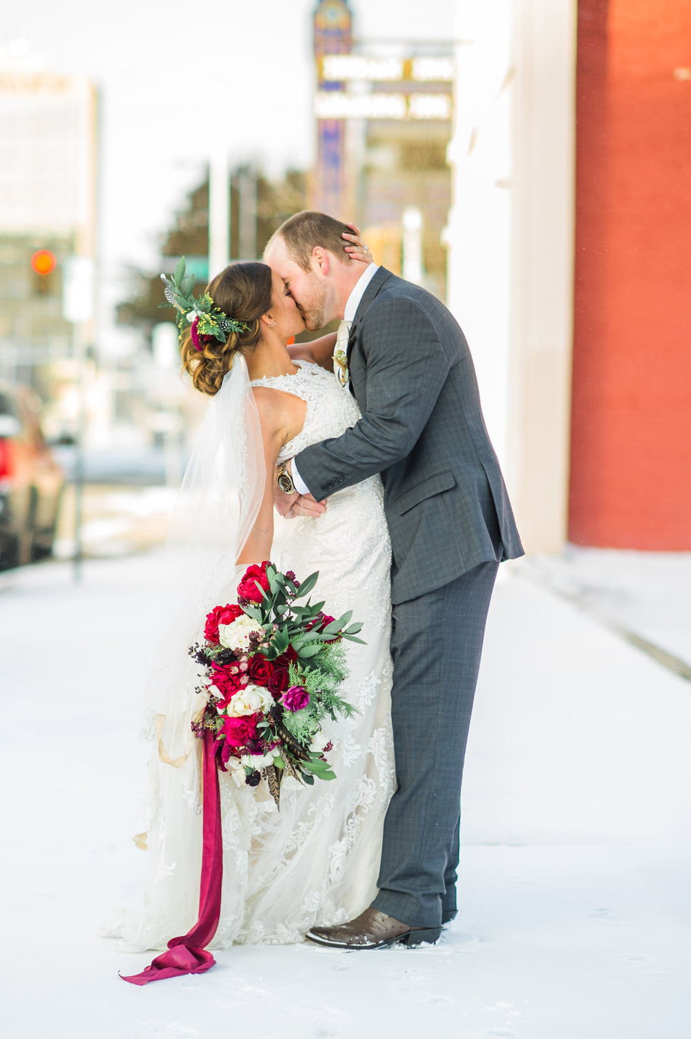 Downtown Industrial Wedding with Surprise Snowfall -