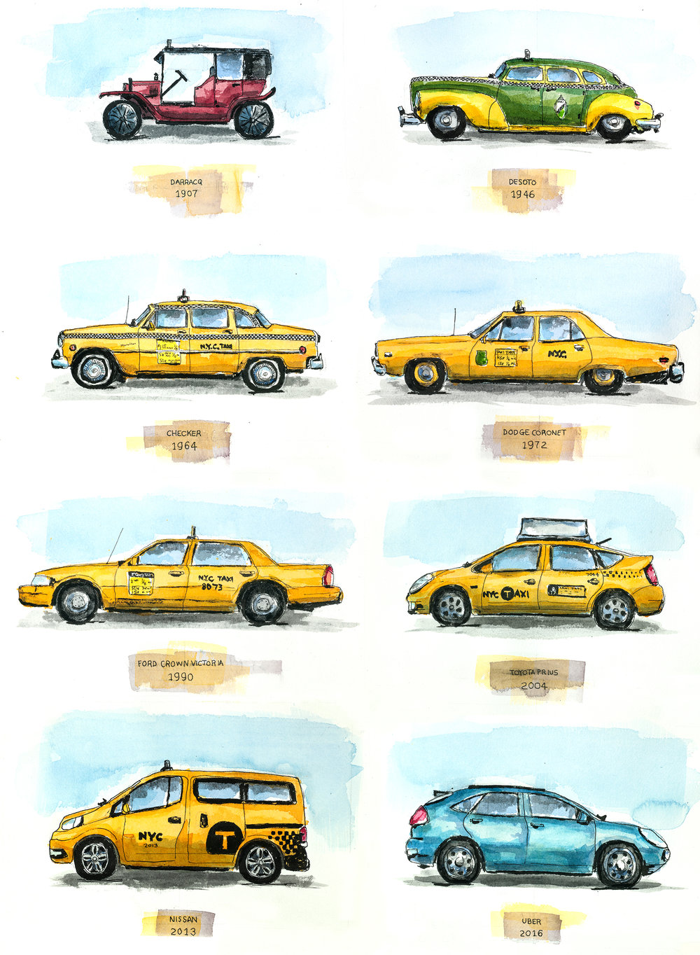 "A Brief History of the NYC Taxi, 22"" x 30"", Watercolor on Paper"