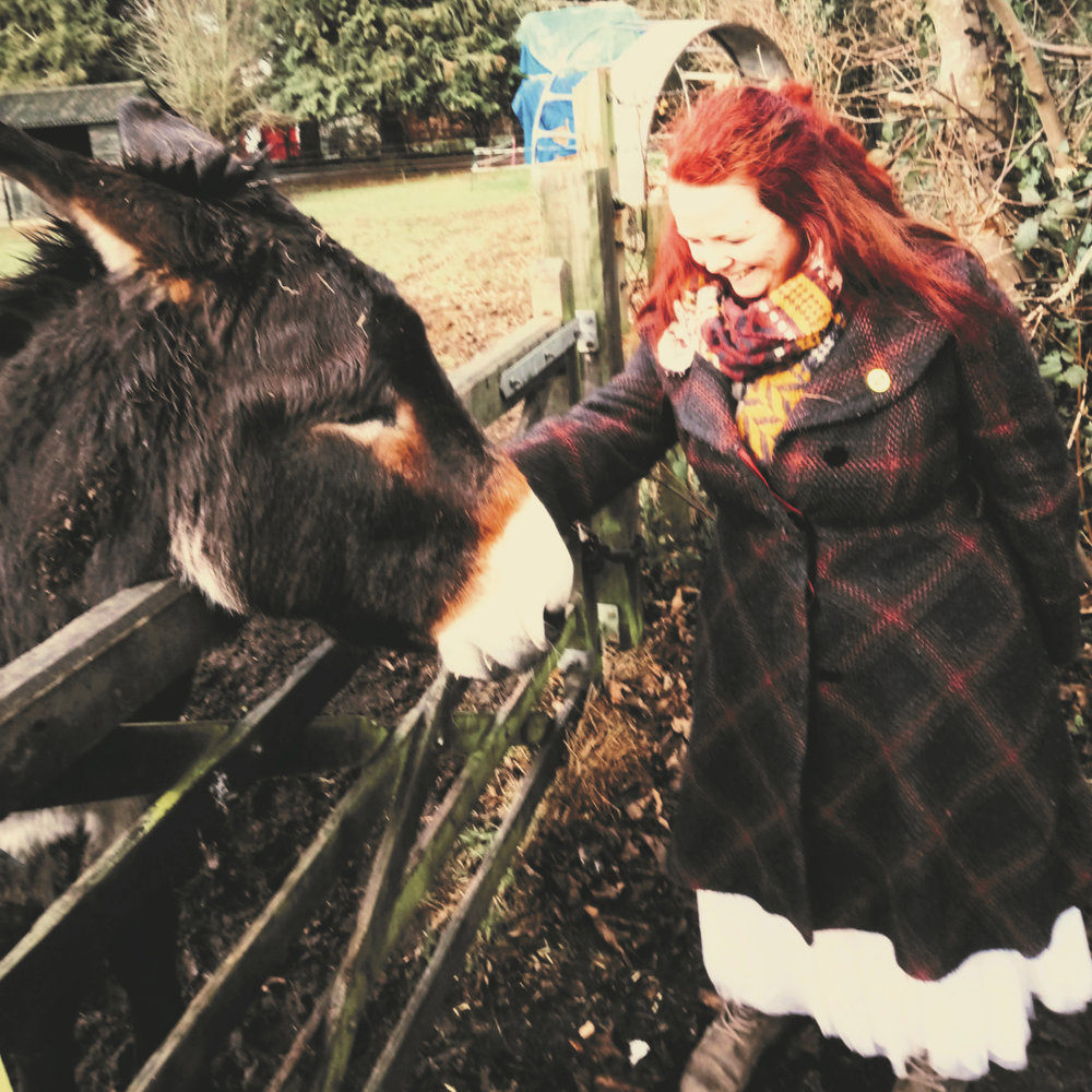 Dotty Delightful & donkey in Oxford, England