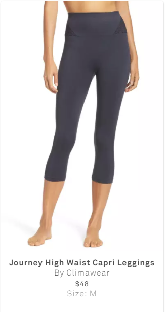 -  I had to choose between 2 workout pants.Felt that when I tried this on, it was a little more tight than I'd like. Did not agree with price.