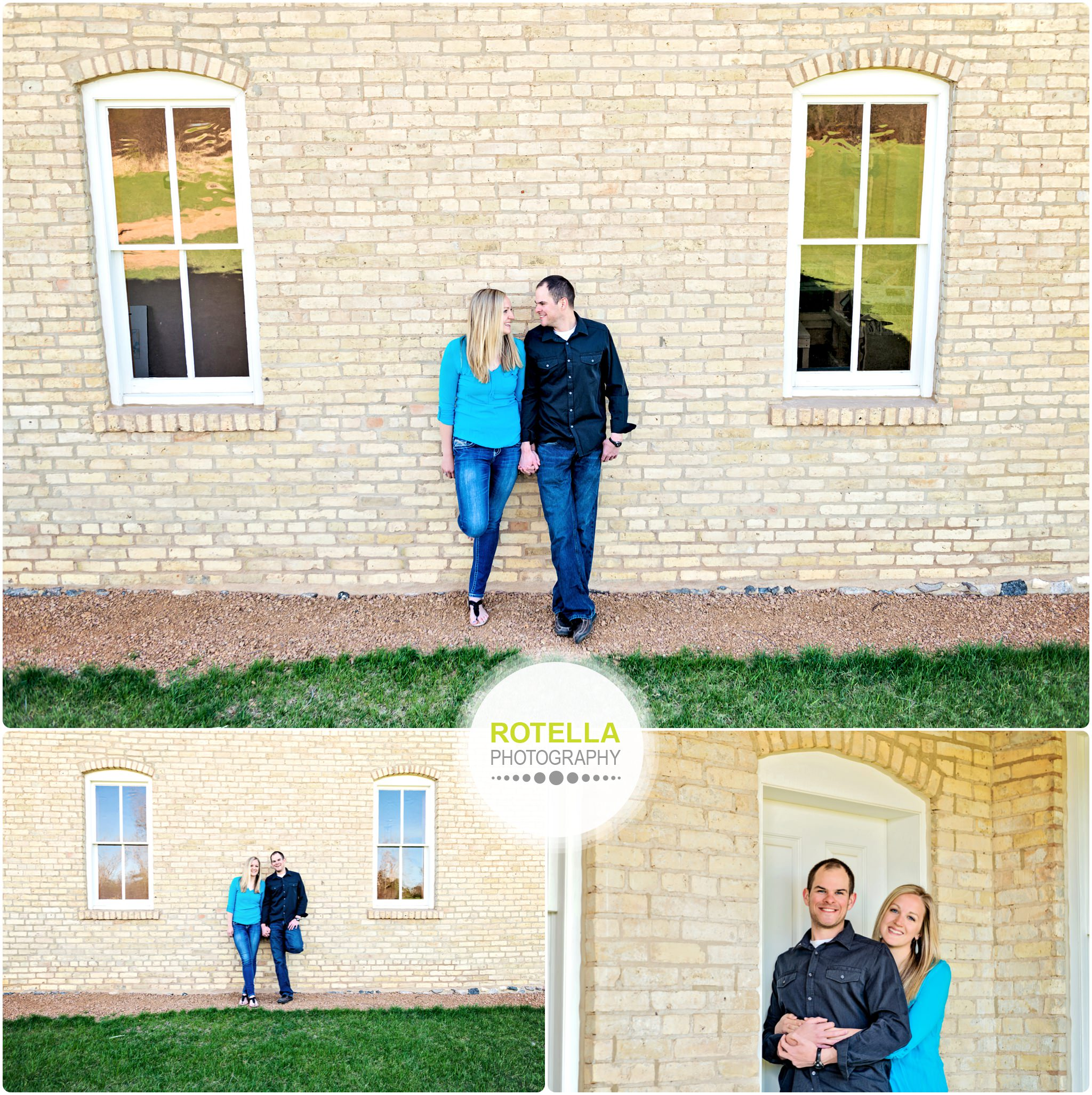 Carver Park Reserve Engagement Session in front of a brick building