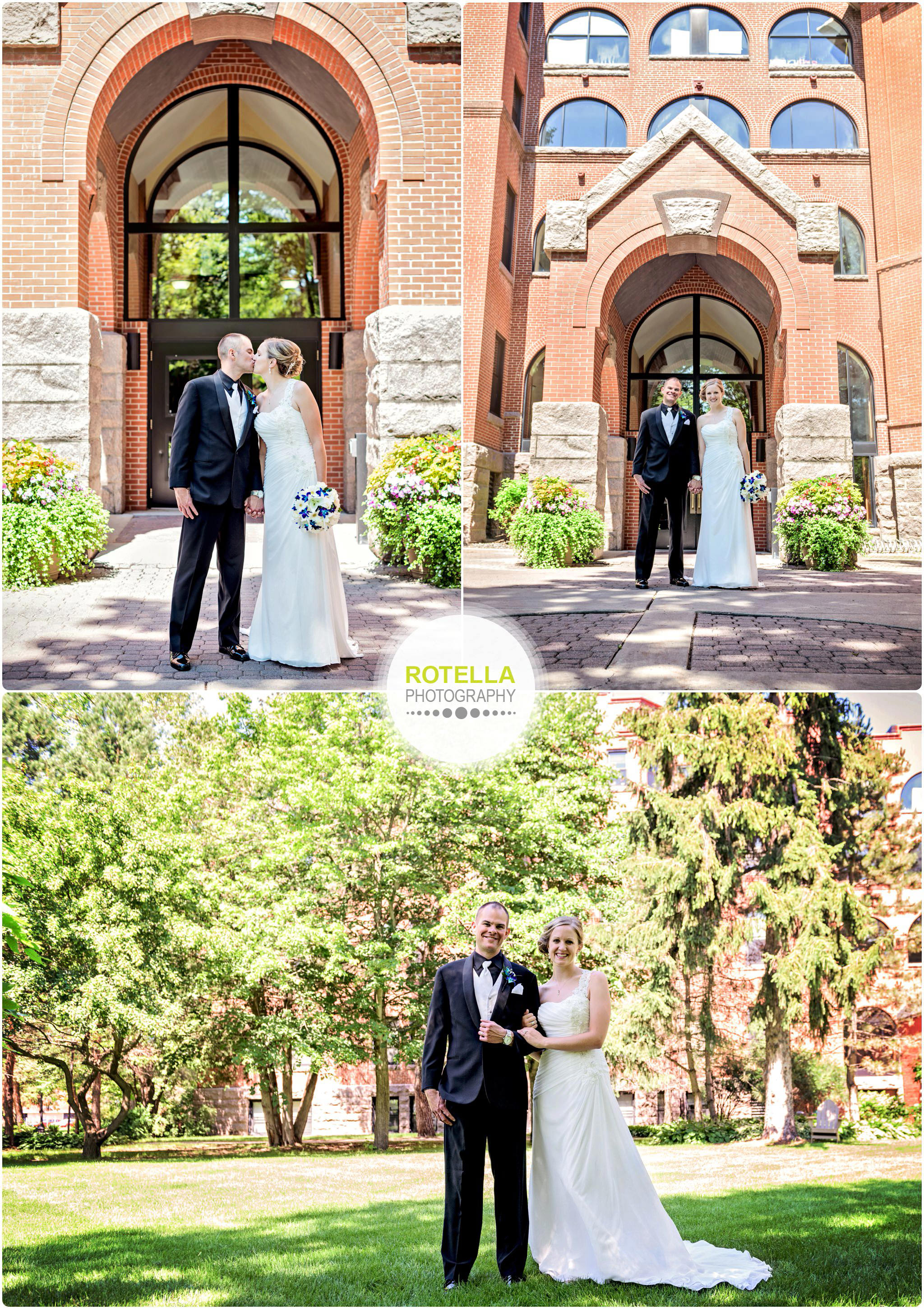 A College of St. Benedict's Wedding outdoor portraits by the courtyard
