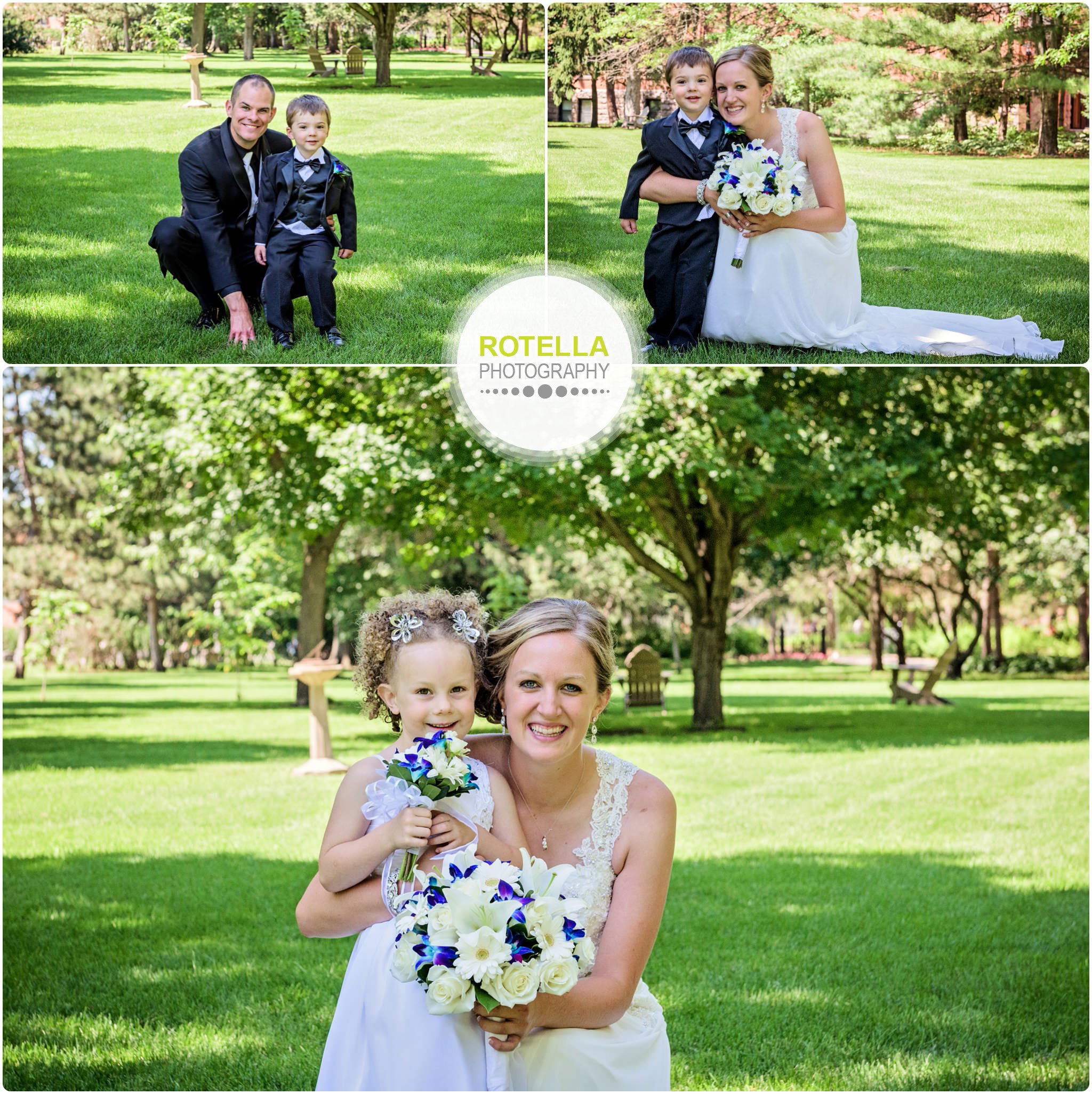 A College of St. Benedict's Wedding outdoor portrait with flower girl