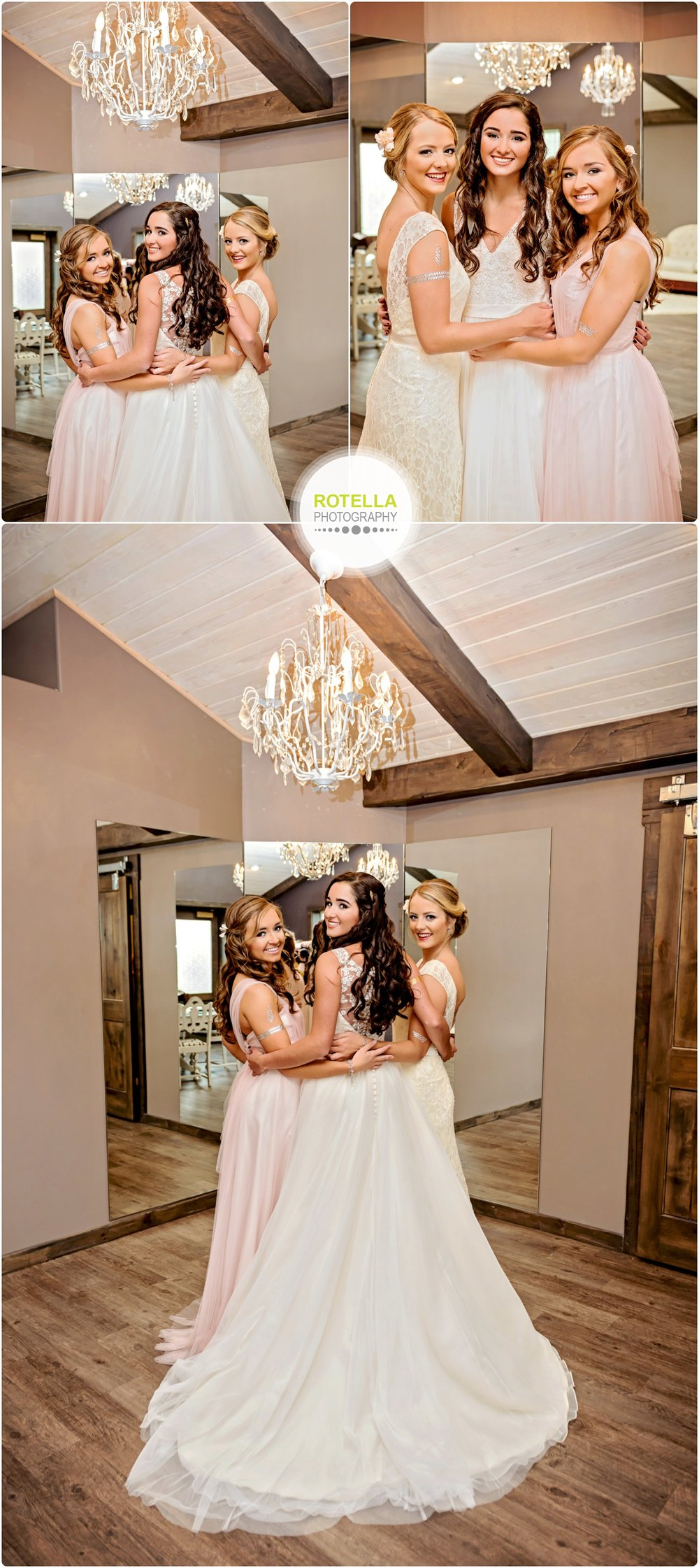Bridesmaids gets ready in bridal suite at Rolling Ridge Wedding and Event Center