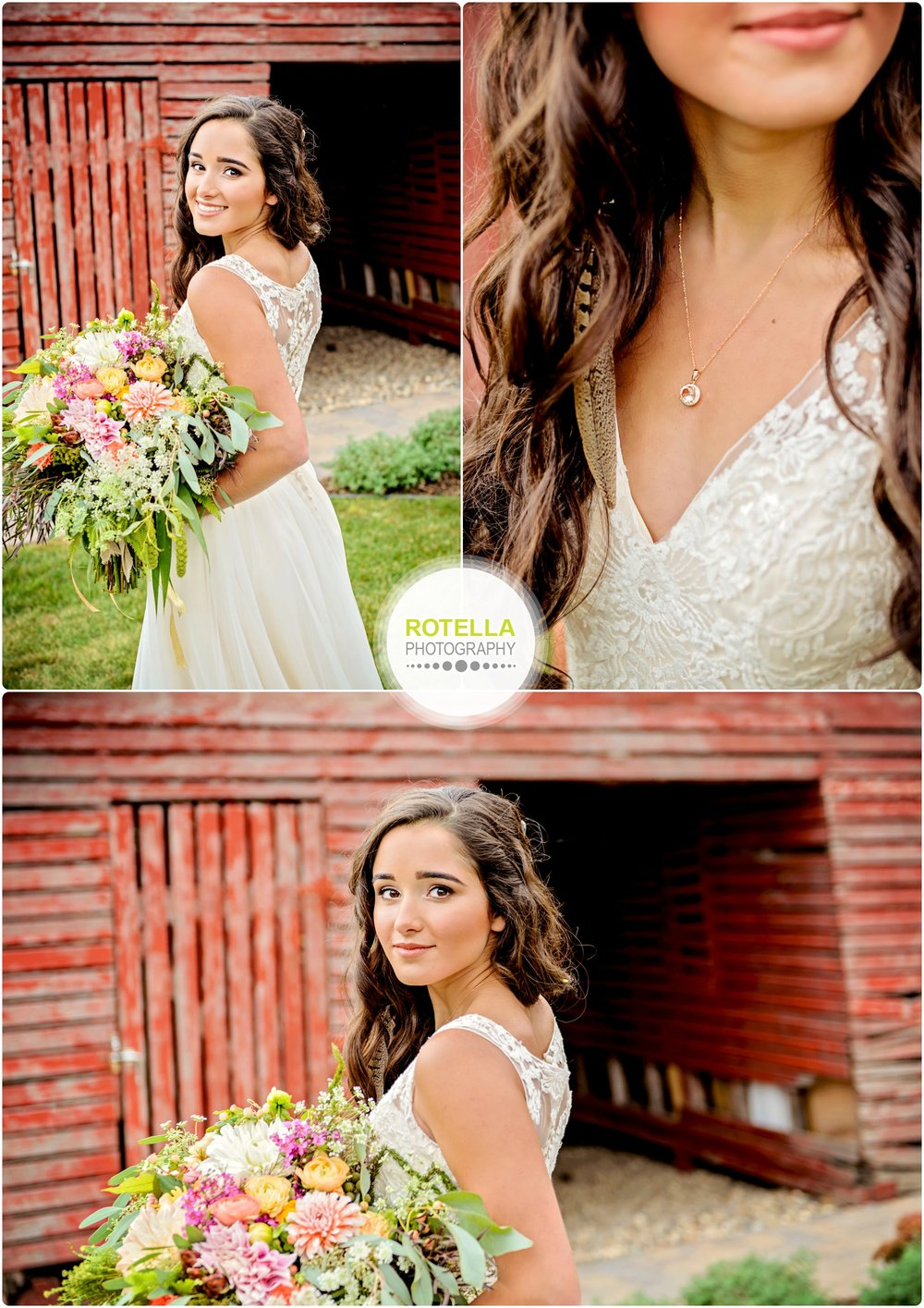 Bridesmaid poses in front of barn