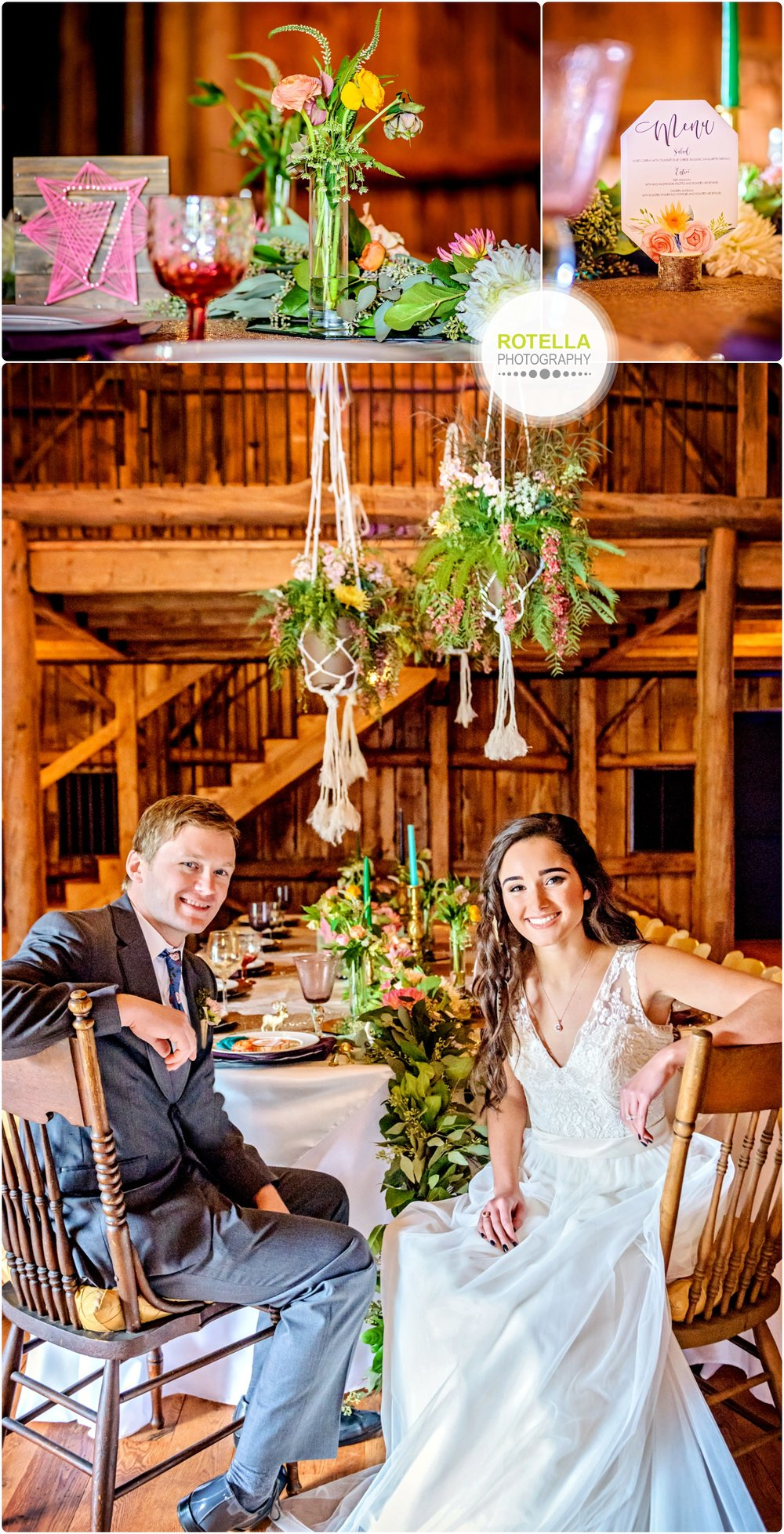 Dinner inside barn at Rolling Ridge Wedding and Event Center