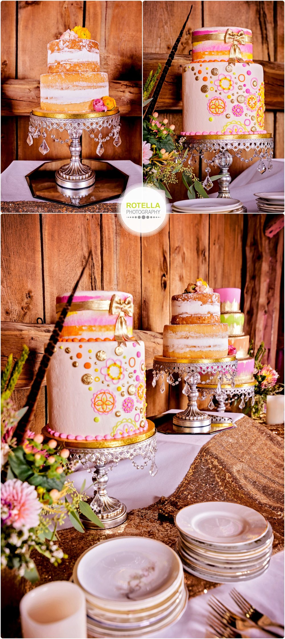 cakes inside barn at Rolling Ridge Wedding and Event Center