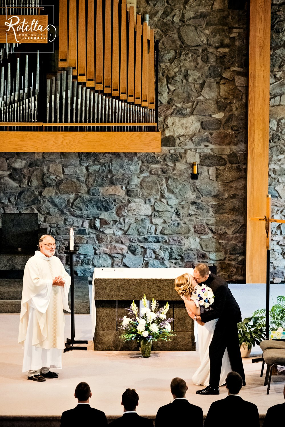 First kiss in church with priest