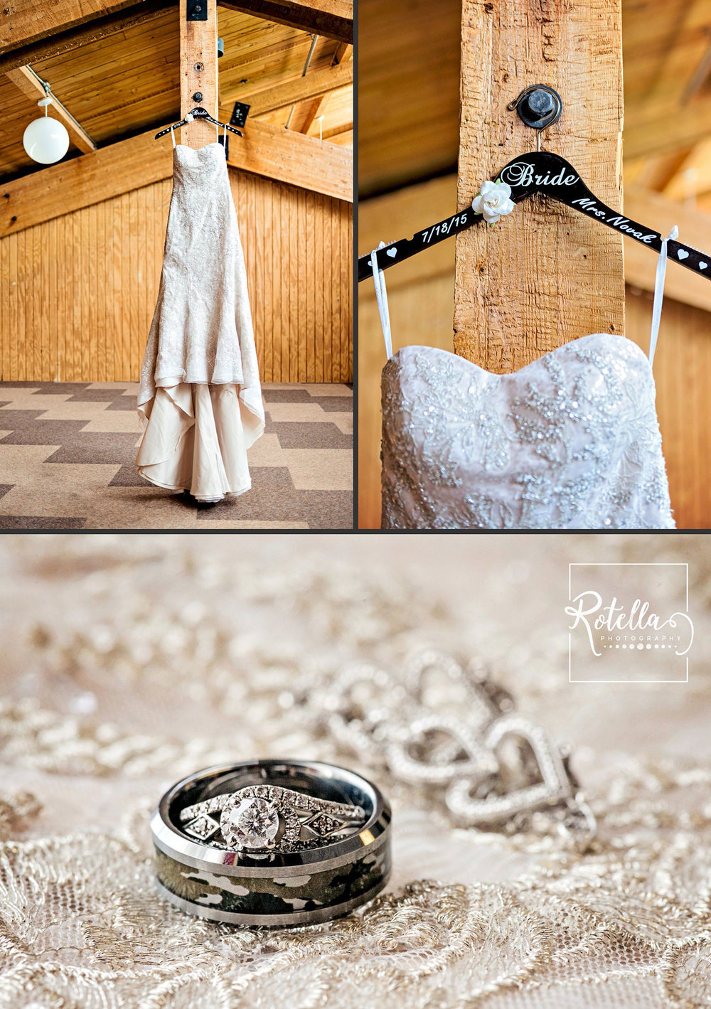 Wedding dress hanging in attic by Rotella Photography