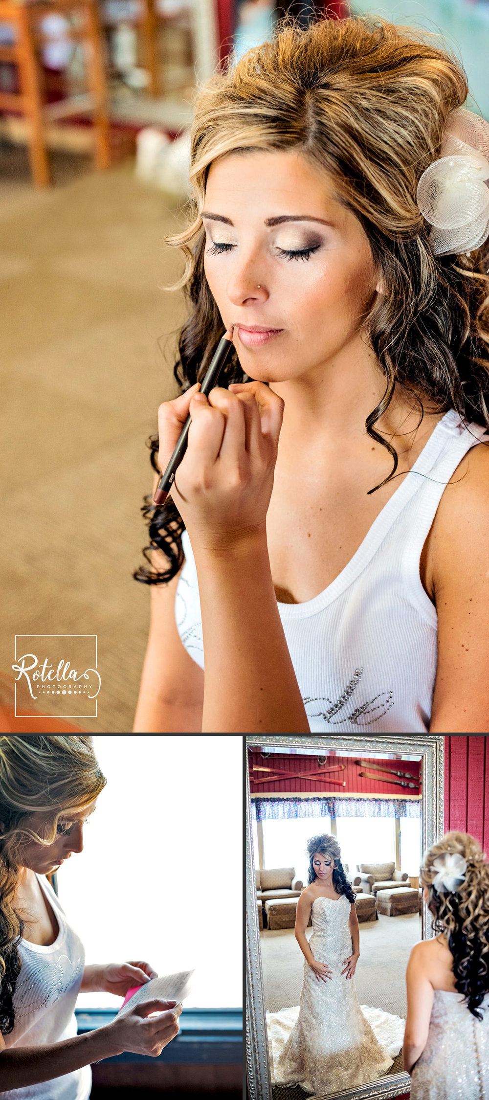 Bride putting on makeup by Rotella Photography