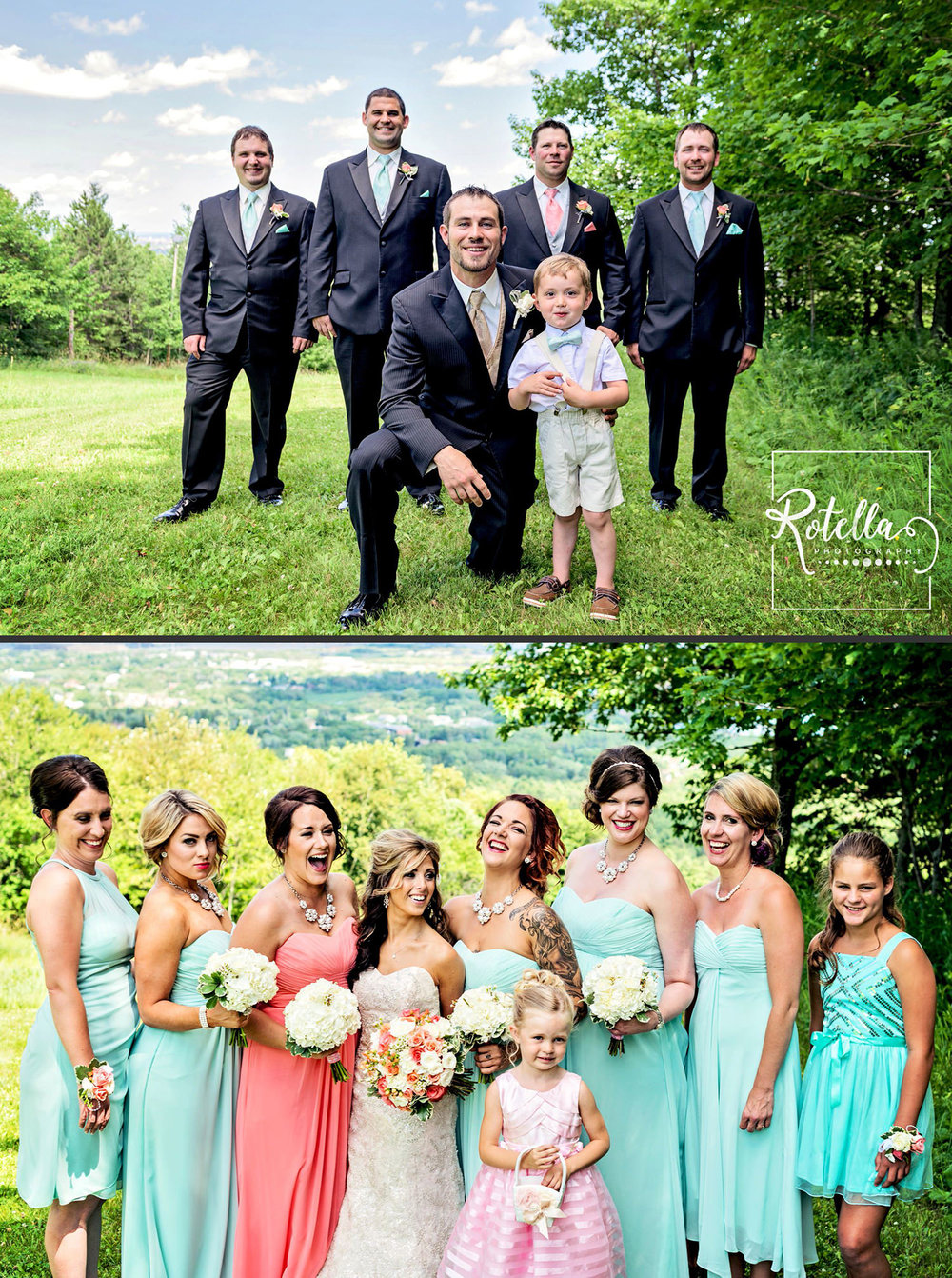 Bridal party on hill by Rotella Photography