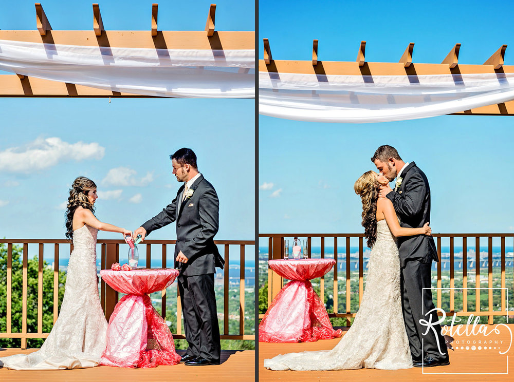 ceremony alter outside on hill with skyline by Rotella Photography