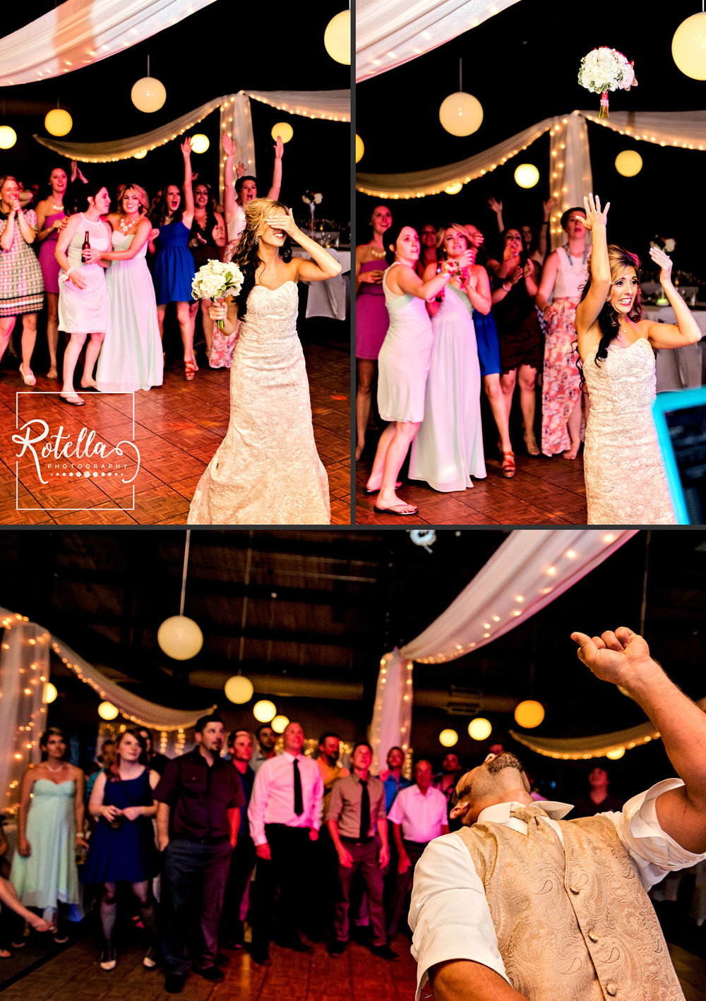 Bouquet and garter toss by Rotella Photography