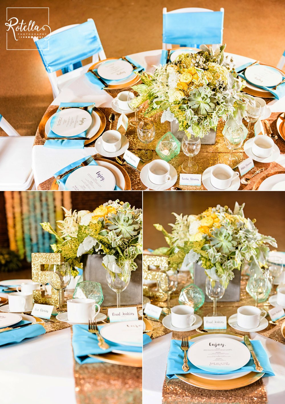 Extravagant teal and gold wedding table display