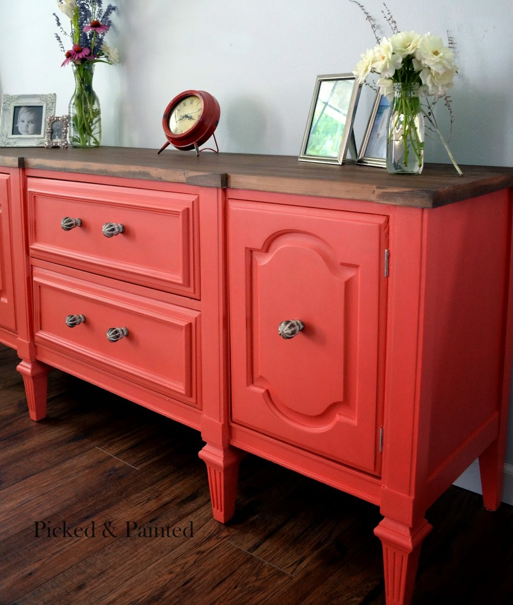 Buffet in General Finishes Persimmon + Coral Crush Milk Paints by  Helen Nichole Designs