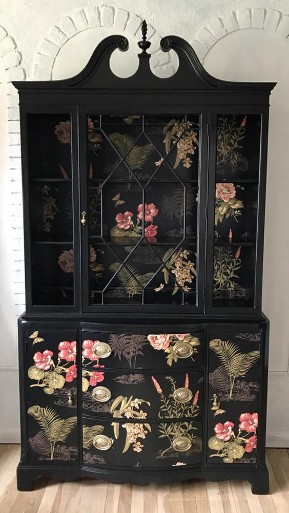 Photo Source:  Pinterest   Applied to the lower doors and drawers, the chinoiserie print takes center stage.
