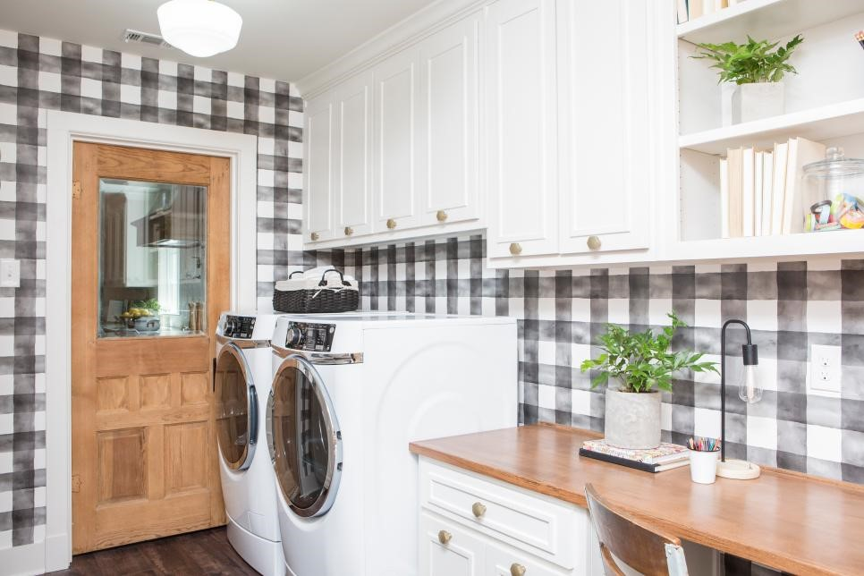 Photo Source:  HGTV   Laundry is much more enjoyable when the wallpaper is fun!