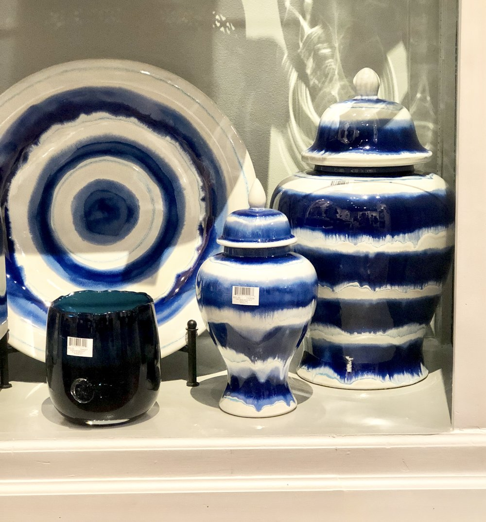 Blue and white has gone modern on classic shapes.