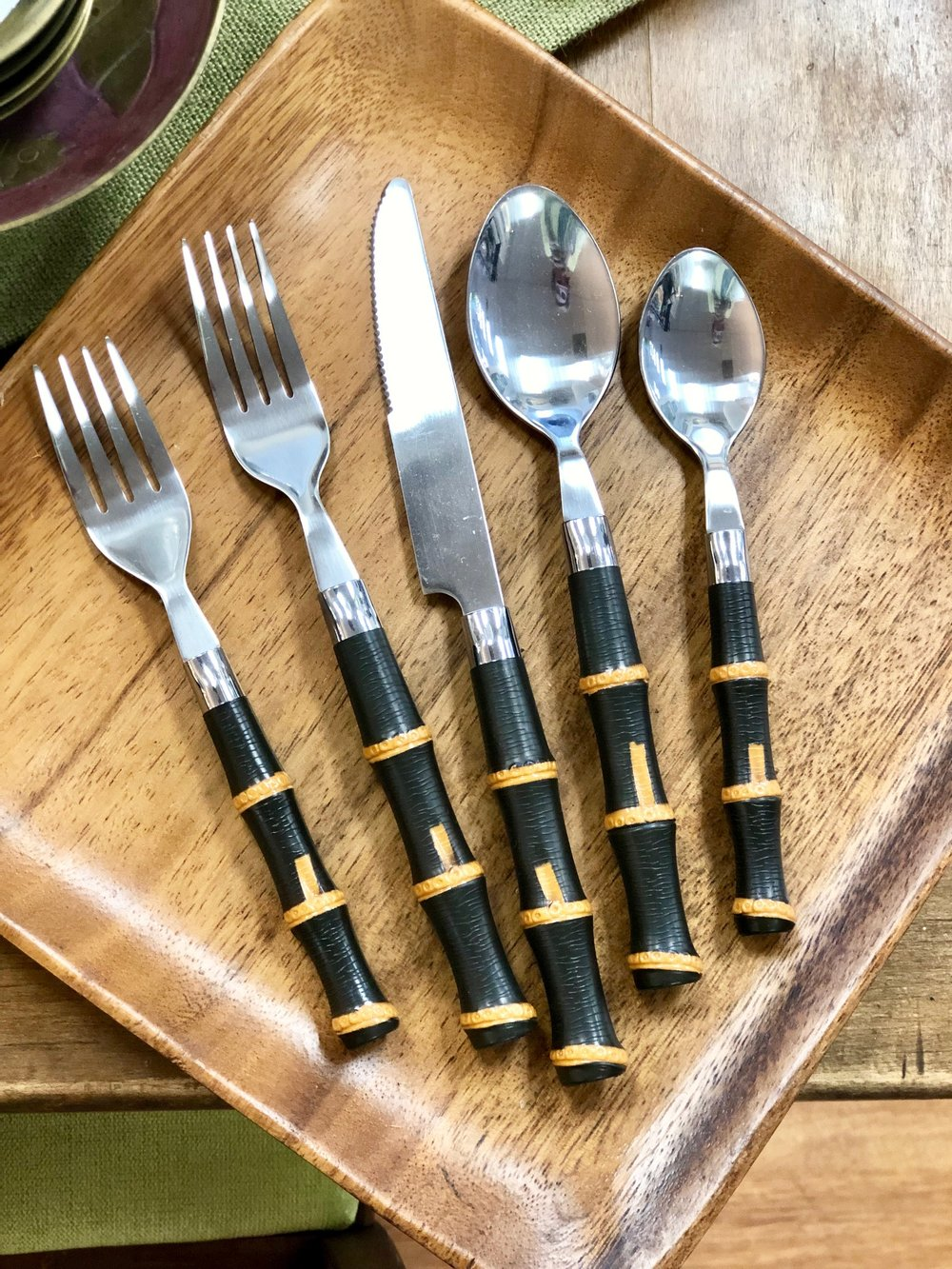 Bamboo is everywhere and this set is very versatile! It's perfect for outdoor entertaining and can add a chinoiserie touch to your formal settings.    Cottage Grove Vintage Market