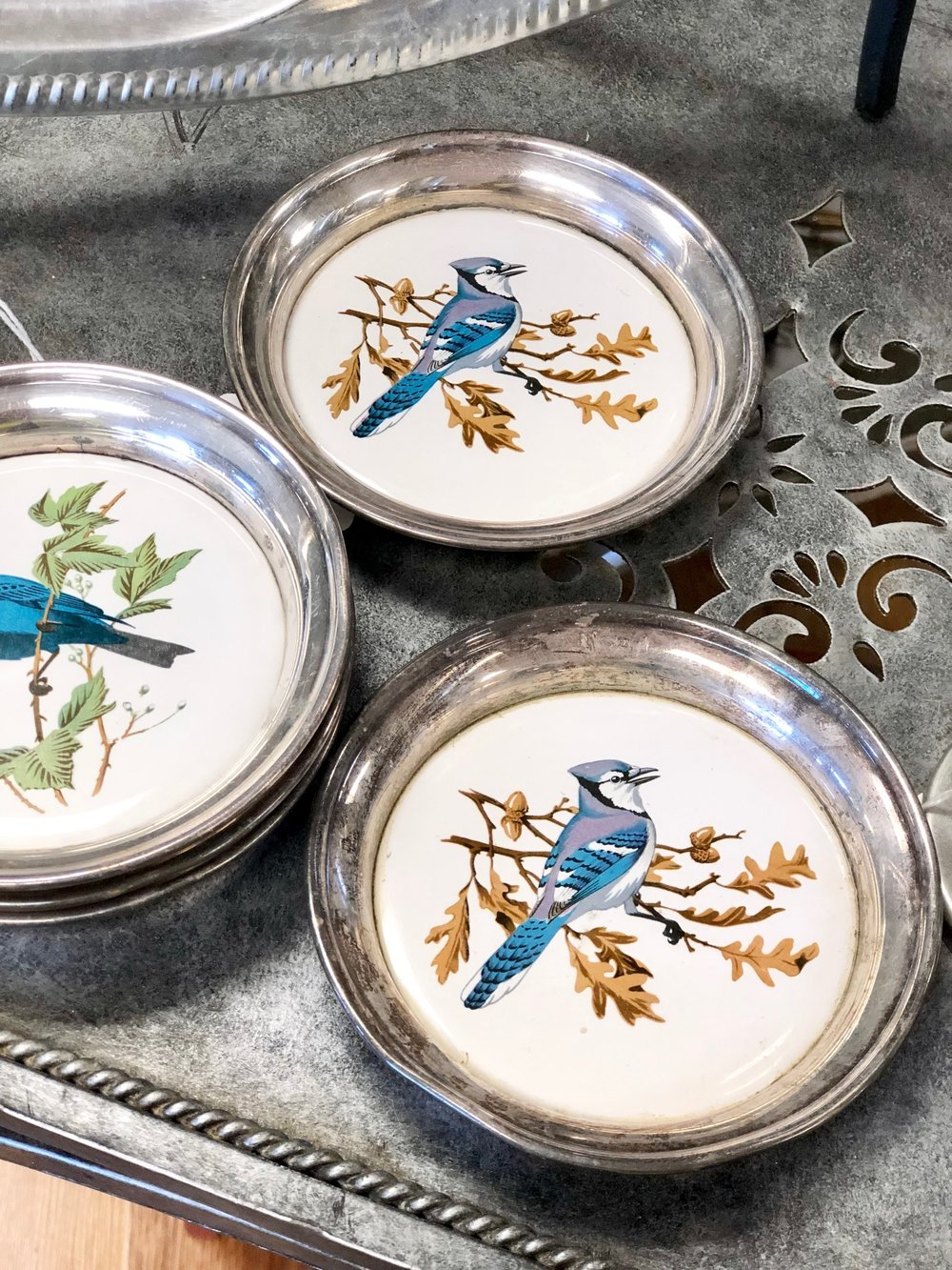 These bird print coasters make a gorgeous addition to your formal table.  VBC