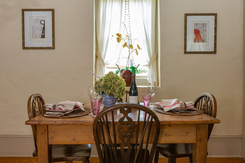 - The dining area is cozy and comfortable