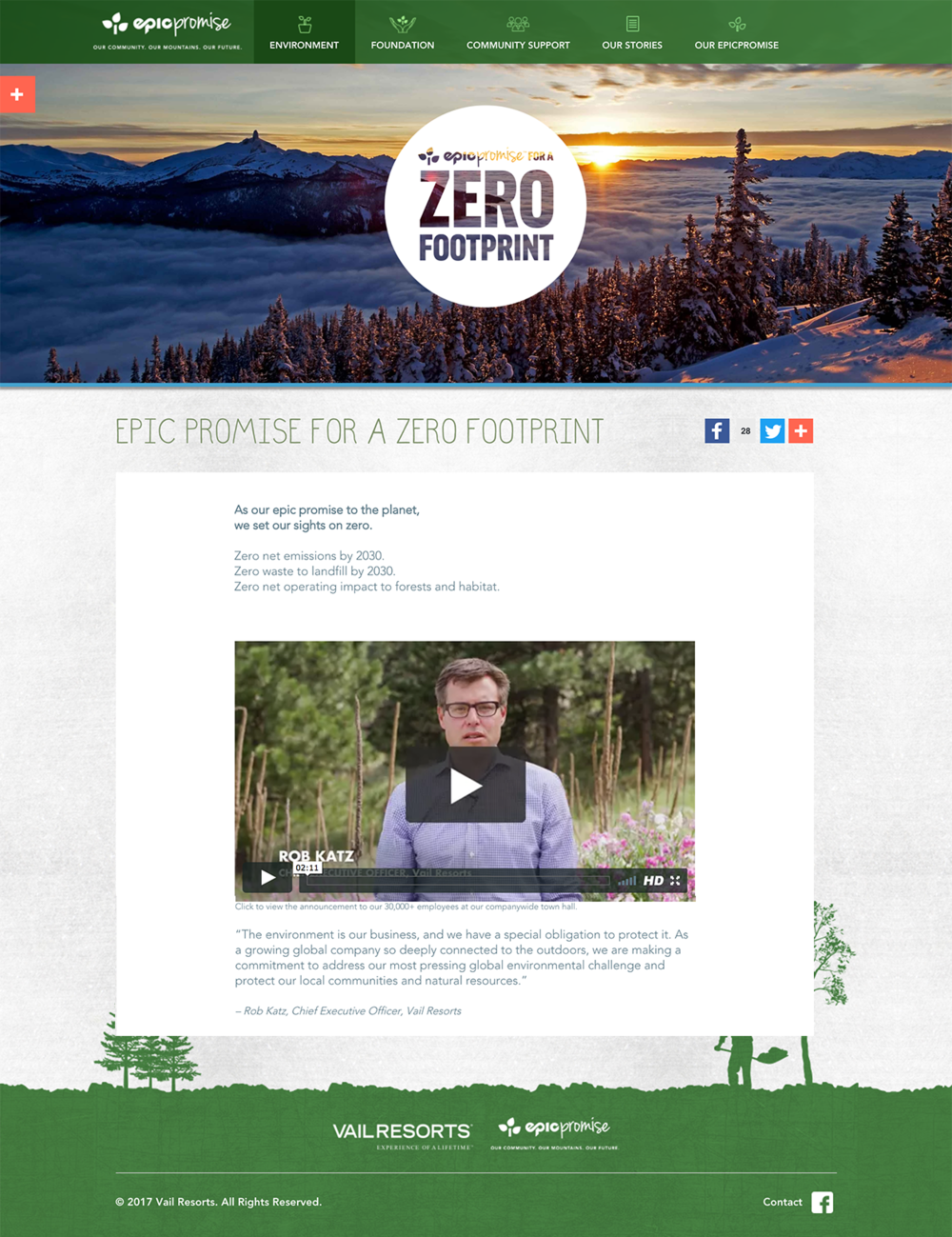 Vail Resorts: Epic Promise for a Zero Footprint Website