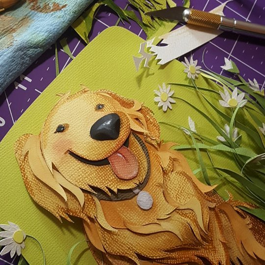 Just about done... The anticipation is killing me! (I want to get started on the next one!) . . . . #papercutart #paperartist #goldenretrieverart #goldenretriever #daisies #crazyartist #cantwaittofinish #almostdone #iknowimcrazy #dogartist #rebeccastuhff #petportrait