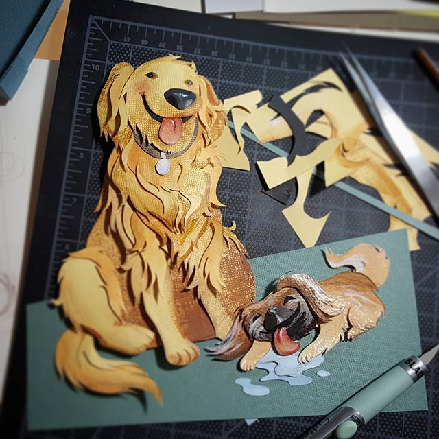Making progress on these paper-cut doggies. Way too much fun mixed with some therapeutic tedium... I'll finish this up soon. . . . #papercutart #paperartist #iknowimcrazy #butitsfun #whoneedssleep #goldenretriever #goldenretrieverart #pekingeseart #lickthefloor #cutpaperart #rebeccastuhff