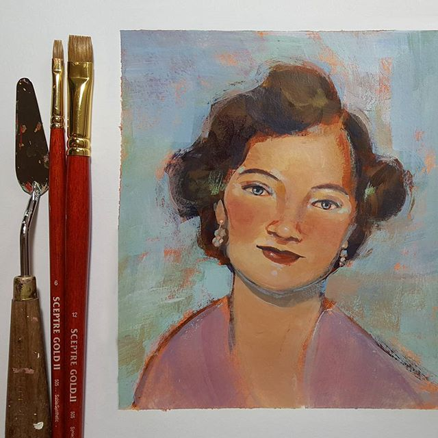 Portrait study from last night. I had paints out to create a color wheel sample for the acrylics class I'm teaching and thought I might as well paint something since I had everything out. (My great-aunt Pearl who recently passed away.) . . . #acrylicpainting #inlovingmemory #portraitpainting #notprincessleia #couldvebeenamodel #messeduptheeyes #rebeccastuhff #artistofinstagram #acrylicportraitpainting