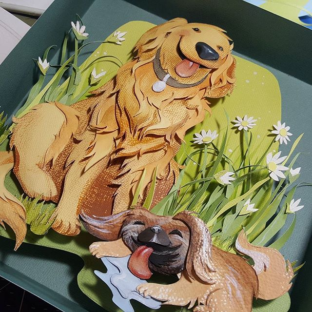 Finally got a chance to finish these pups. This was fun and challenging. I will definitely do things differently on the next one - so I know I learned a lot, but overall I like how it turned out! . . . . #thenextonewillbebetter #iknowimcrazy #papercutart #paperartist #goldenretrieverart #goldenretriever #pekingeseart #petportrait #papercutting #childrensillustration #childrensillustrator #finallydone #rebeccastuhff
